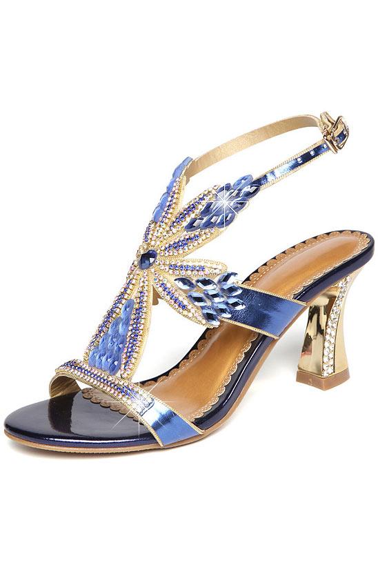 Sandale de soirée bleu fleurie en cristal strass à talon haut
