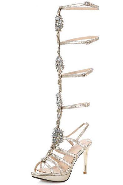 Sandale de soirée gladiateur talon haut / plate à strass et lanière