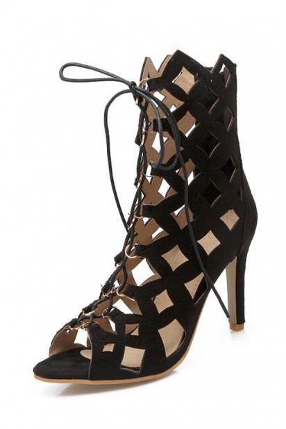 Sexy Sandale gladiateur noire talon haut à lacet