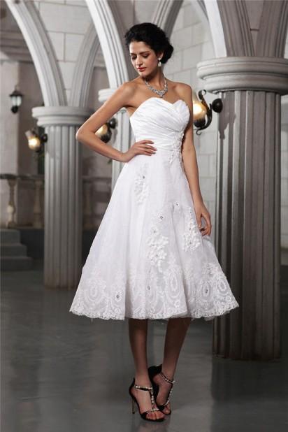 Robe de mariée mi longue au mollet bustier