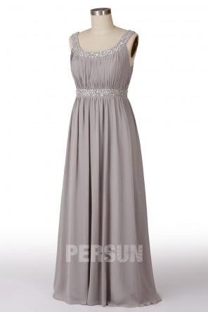 Soldes robe longue de soirée grise taille 48