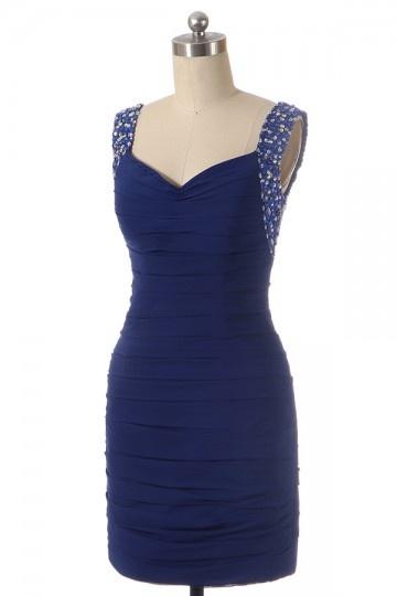Soldes robe de cocktail courte bleu bretelles bijoutées