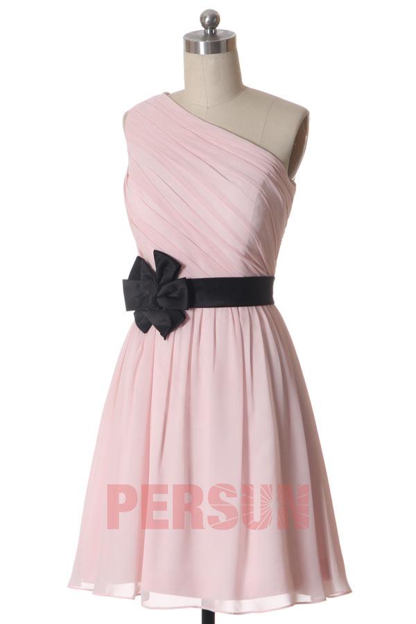 Petite robe rose pâle asymétrique pour cocktail mariage - JMRouge.fr ff75431c614a