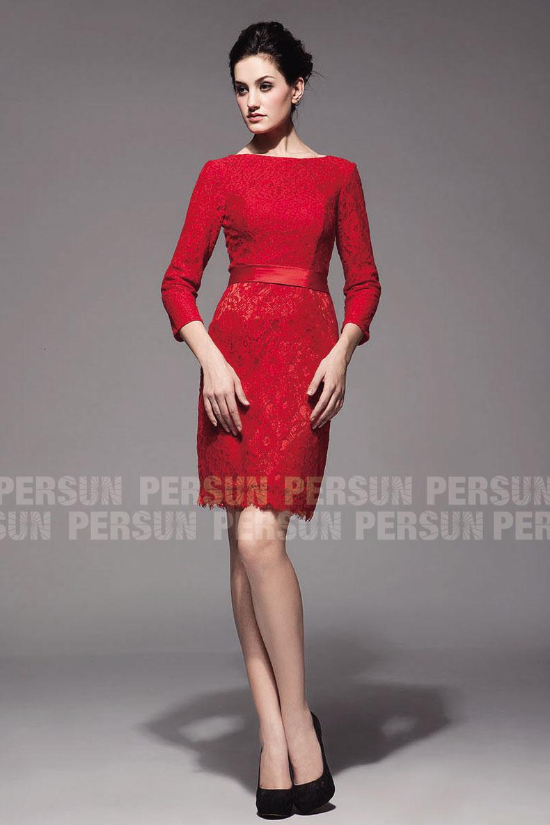 robe rouge de cocktail mariage à manche en dentelle