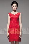 Vintage courte Robe cortège mariage en dentelle rouge à encolure V