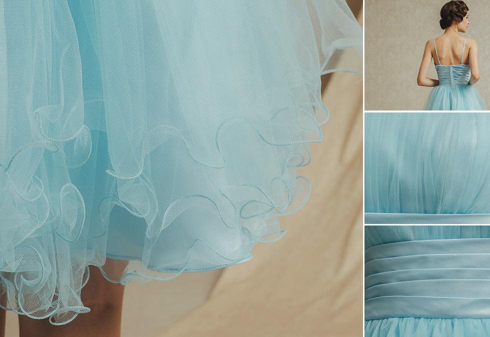 robe de bal bleu clair courte à bretelle spaghetti