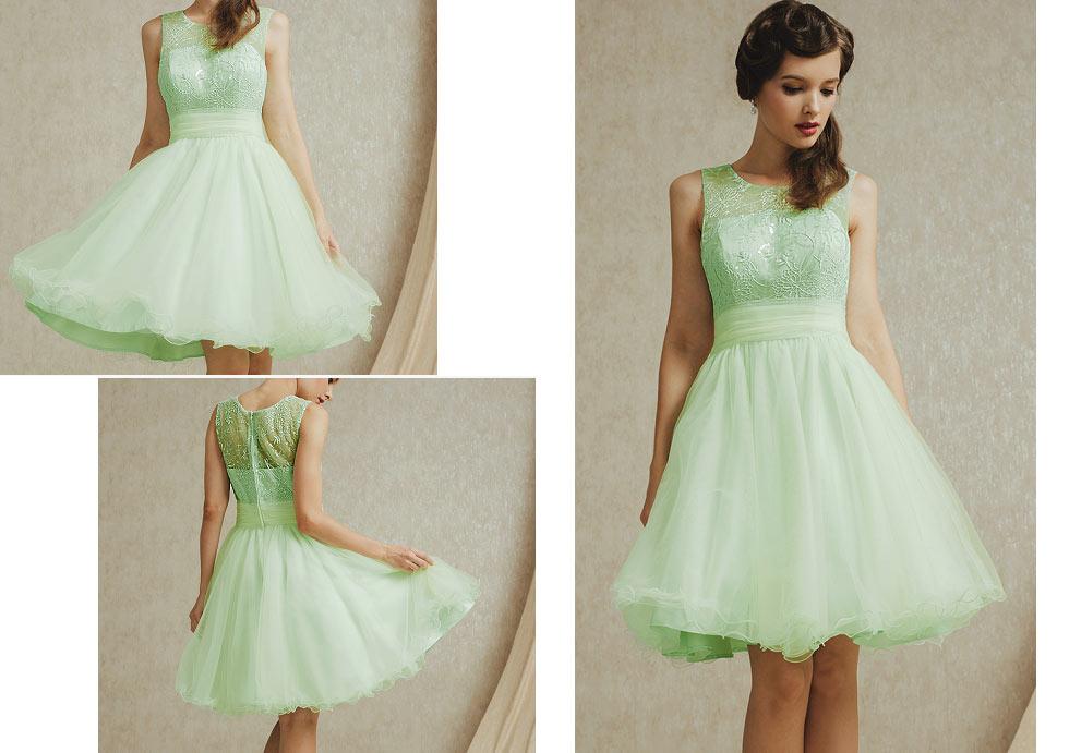 robe de soirée verte brodé pour fête d'anniversaire