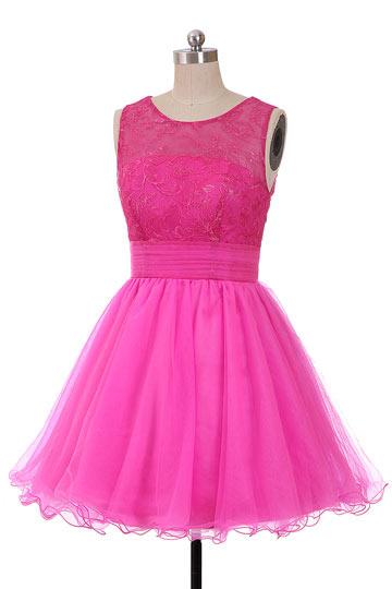 Romantique mini robe pour témoin de mariage à col rond