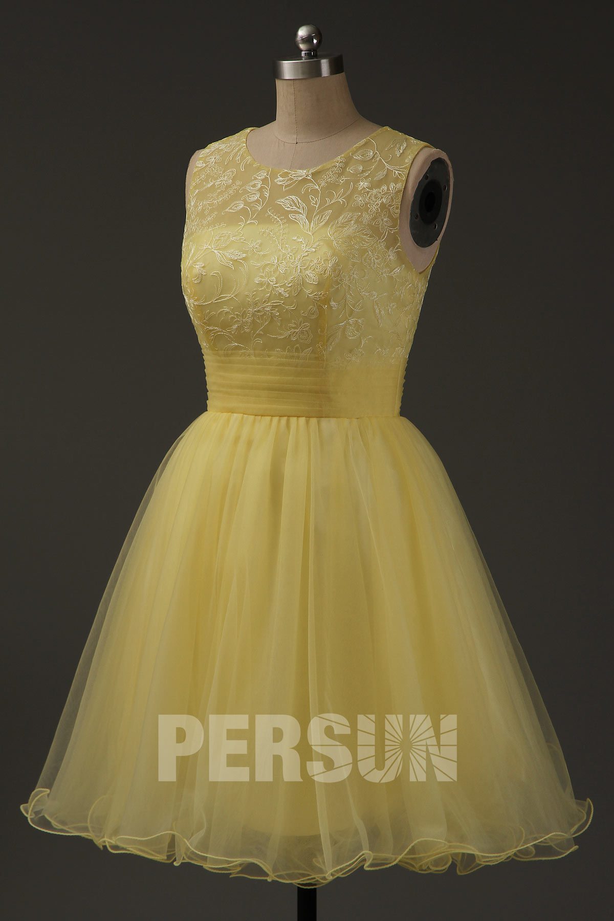 Robe cortège de mariage tutu jaune pale avec broderies