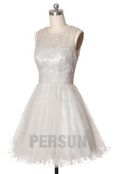 Petite robe tutu argentée à haut en dentelle