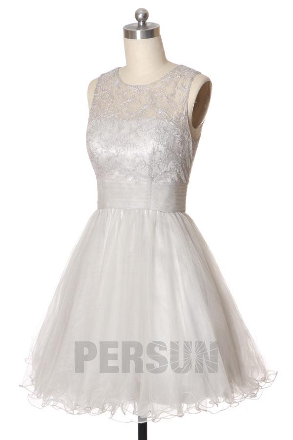 9e42f059ec037 Petite robe tutu argentée à haut en dentelle - Persun.fr
