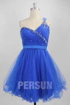 Petite robe bal bleu col asymétrique à dos nu en tulle