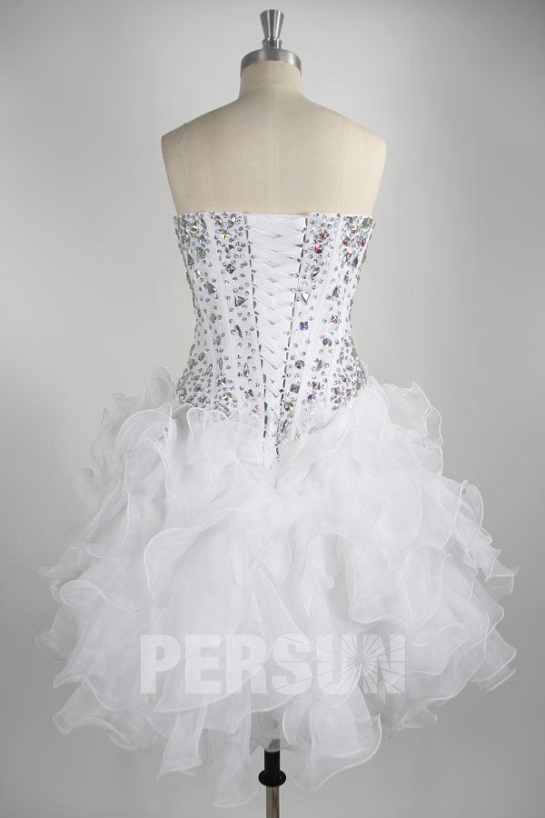 Chic robe de bal courte à bustier orné de paillettes à volants