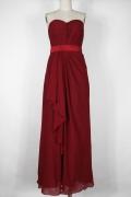 Schlichtes A-Linie Herz-Ausschnitt rotes langes Abendkleid aus Chiffon