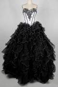 Prinzessin Stil schwarz A-Linie Herz-Ausschnitt  bodenlang Ballkleider aus Organza