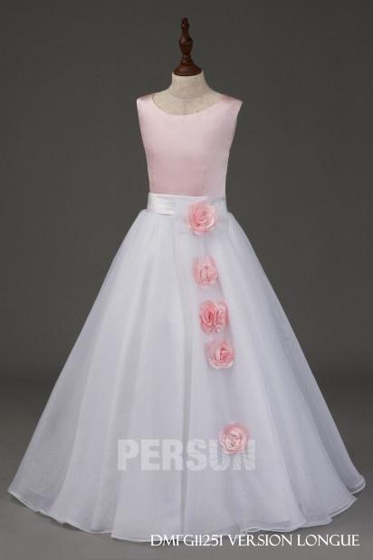 aa26ad822cb Robe de cérémonie fille Ligne A ornée de fleur avec jupe ample ...