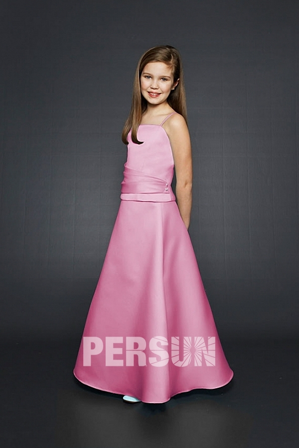 robe de cérémonie fille rose simple avec bretelle fine