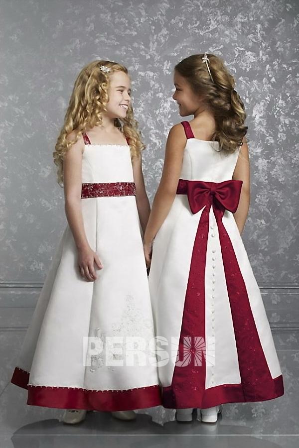 Robe mariage enfant princesse avec bretelle en satin ornée de noeud papillon au dos