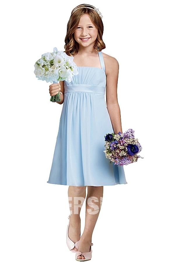 Robe simple bleu ligne A pour cortège fille