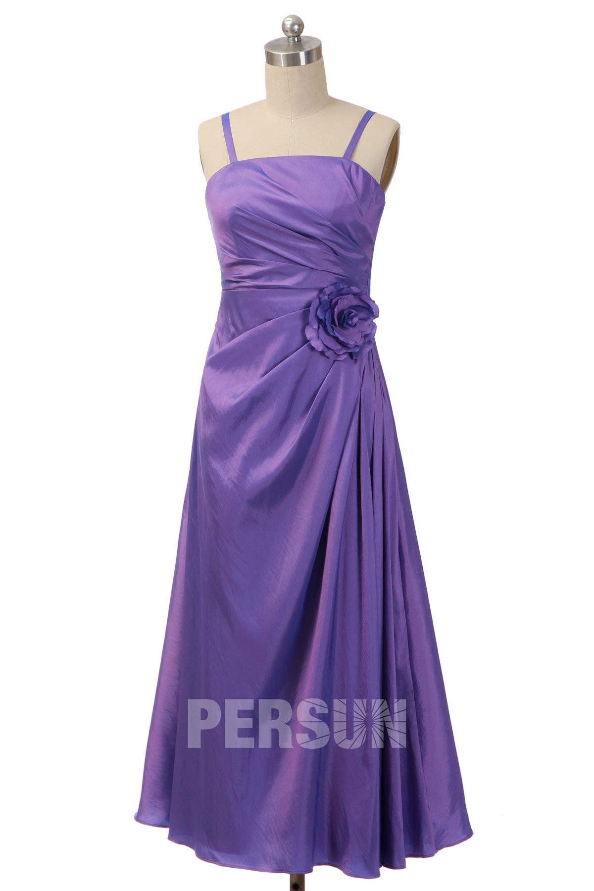 robe cortège fille violette simple taille de fleur avec bretelles spaghetti