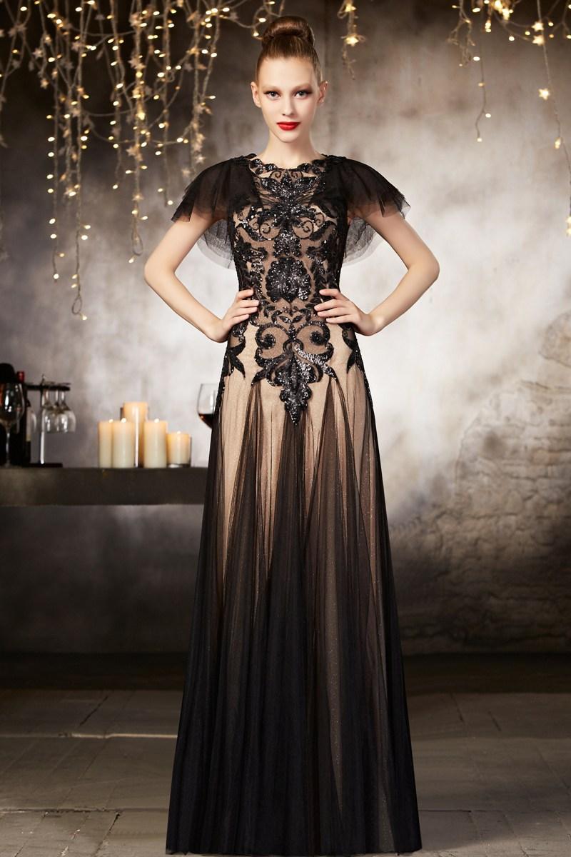 e18cf40ad1a Noire Robe soirée chic en tulle parée de paillettes - Persun.fr