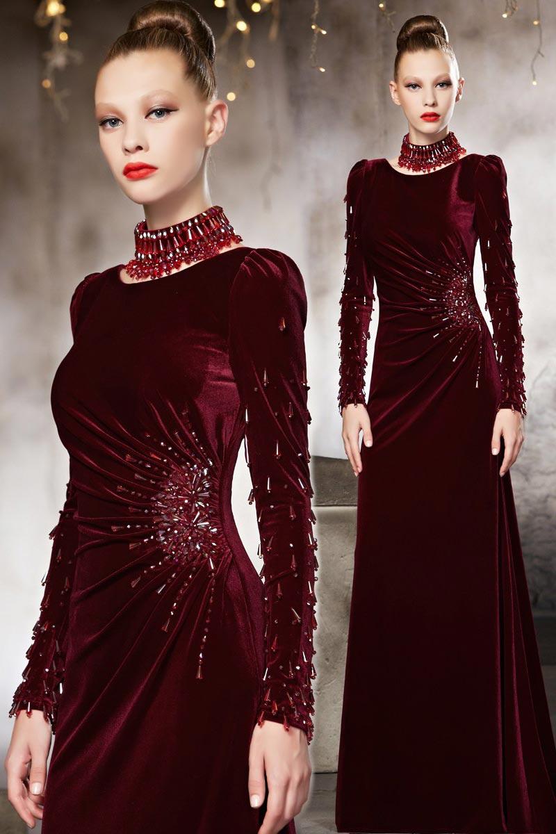 robe de soirée longue vin rouge manches longues