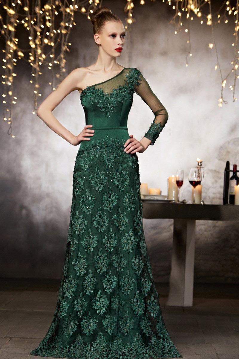 ac111e2b243 Robe de soirée verte en dentelle à superbe application ornementale ...
