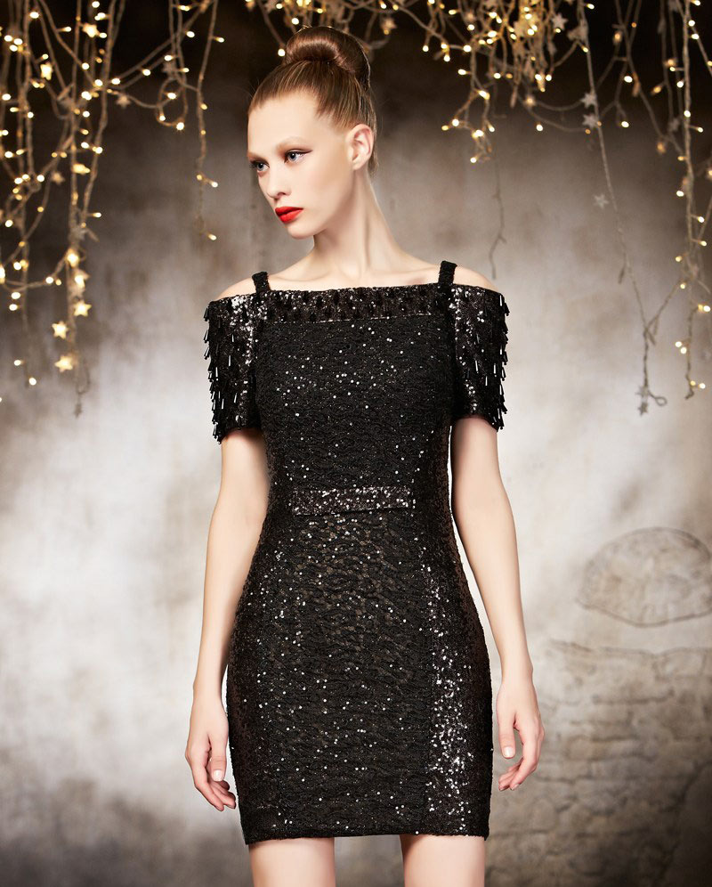 robe de réveillon courte noire dentelle à paillettes