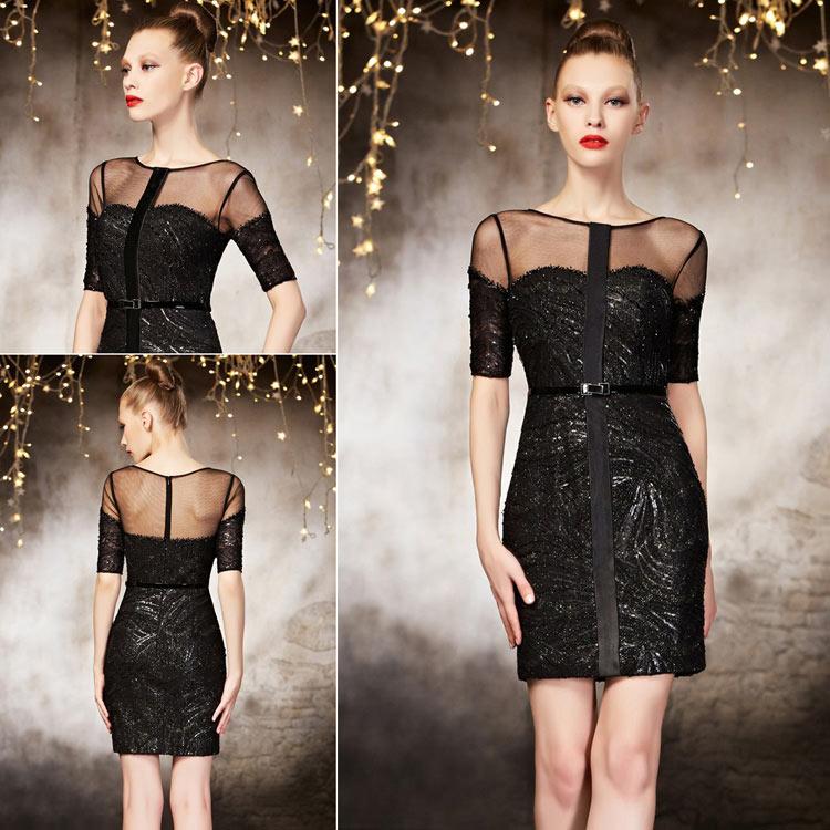 petite robe noire encolure transparente