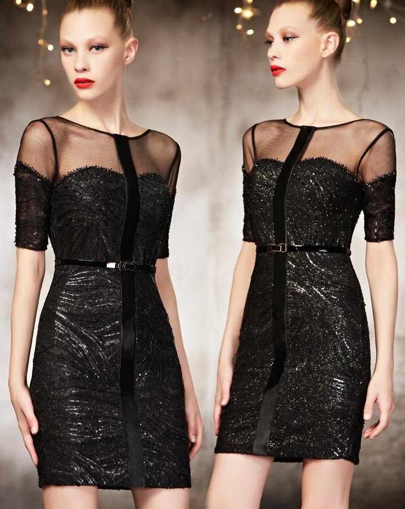 robe de soirée noire rétro courte avec ceinture