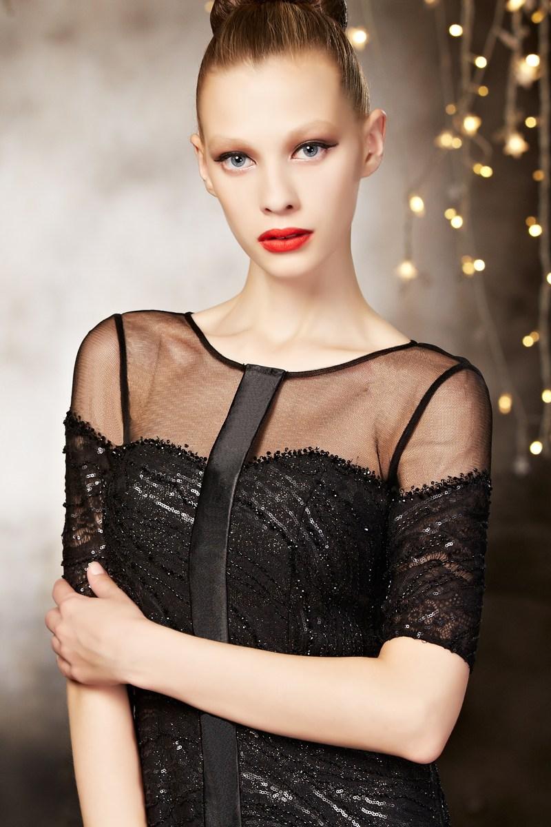 robe courte de luxe à paillettes noires pour gala