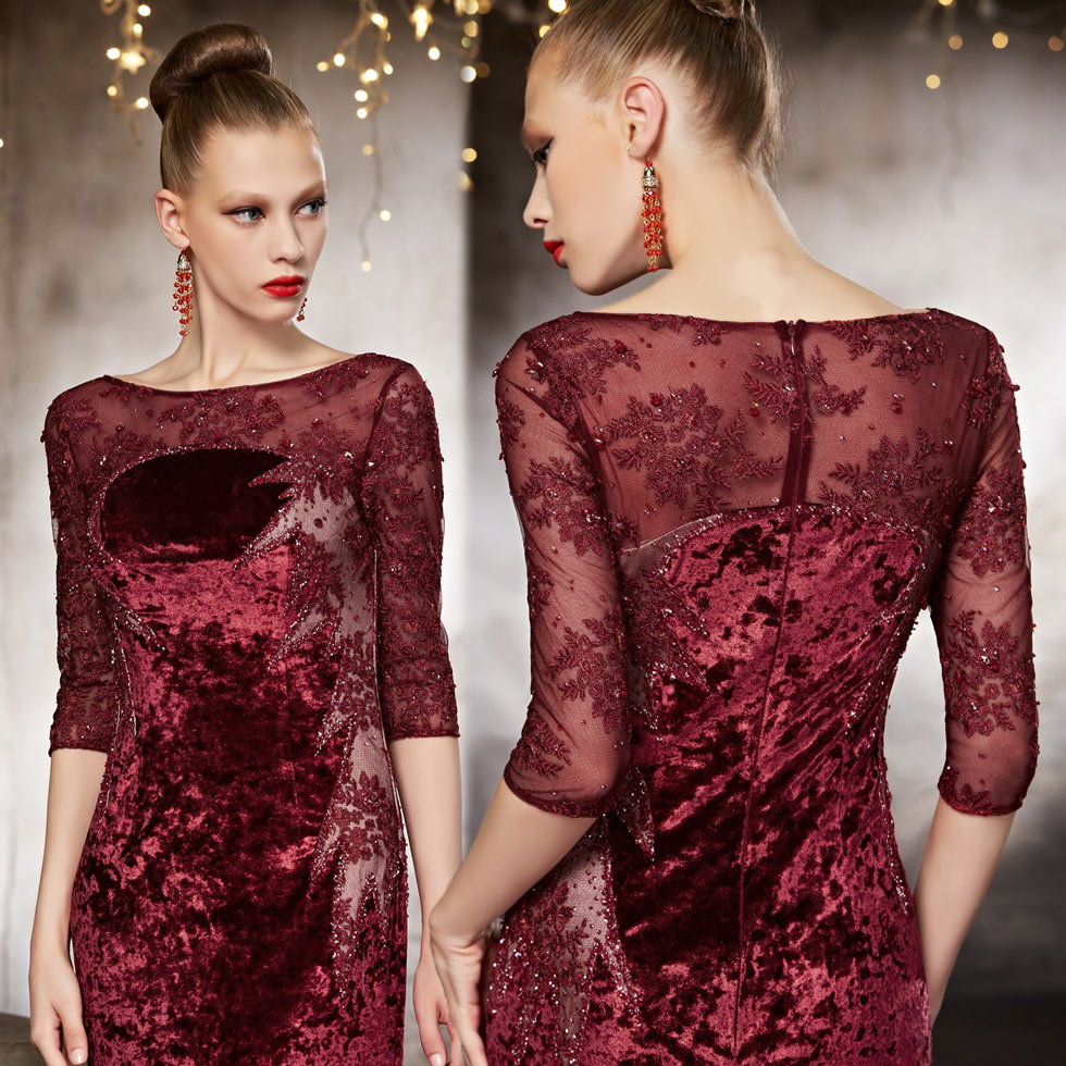 robe de soirée unique et moderne velours hiver appliques