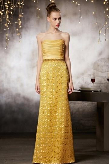 Elégante Robe bustier en couleur jaune à jupe ajourée