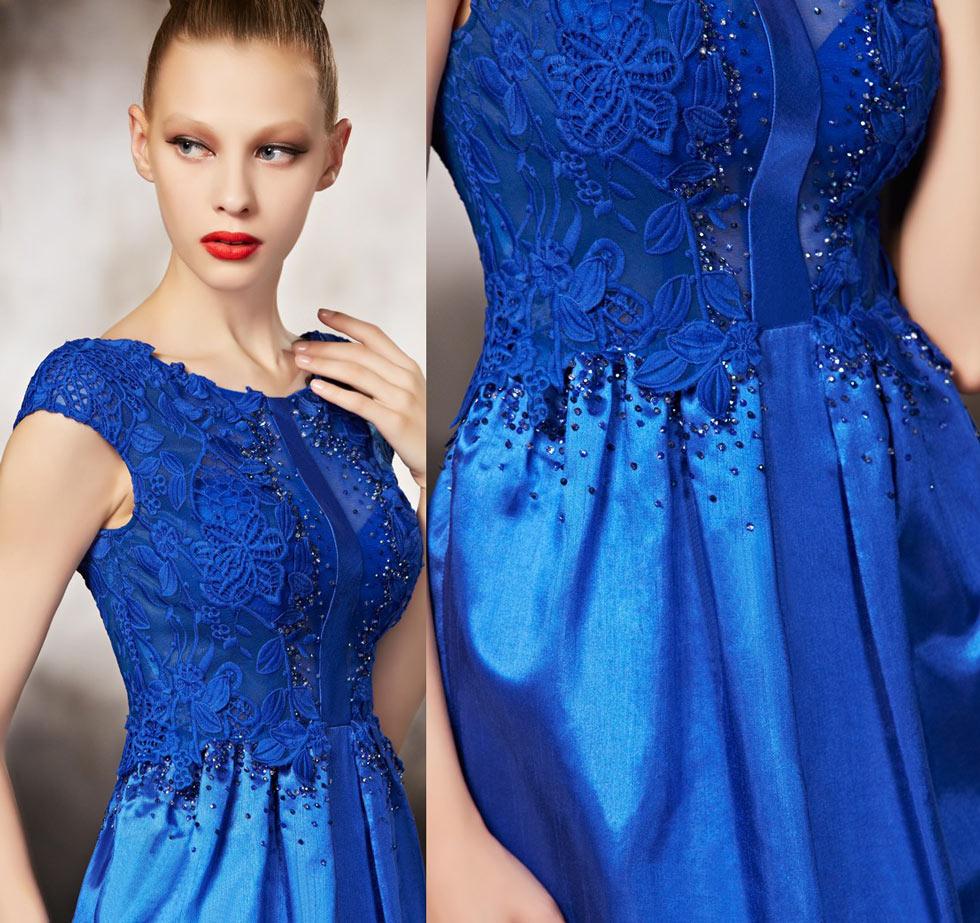 Robe soirée bleu électrique à style fourreau