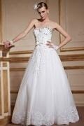 2016 Herz-Ausschnitt Tüll weiß Trägerlos Brautkleider mit Schnürung