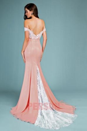 Robe de gala vieux rose sirène épaule dénudé haut en dentelle guipure