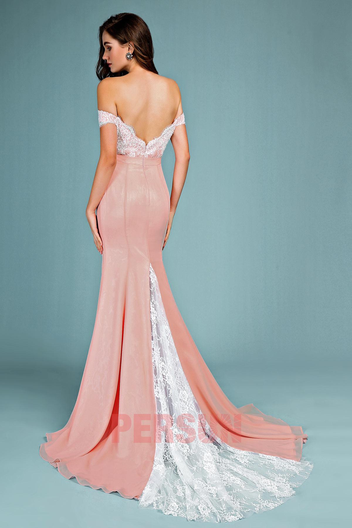 Robe de soirée sirène mousseline vieux rose dos échancré appliqué de dentelle coton
