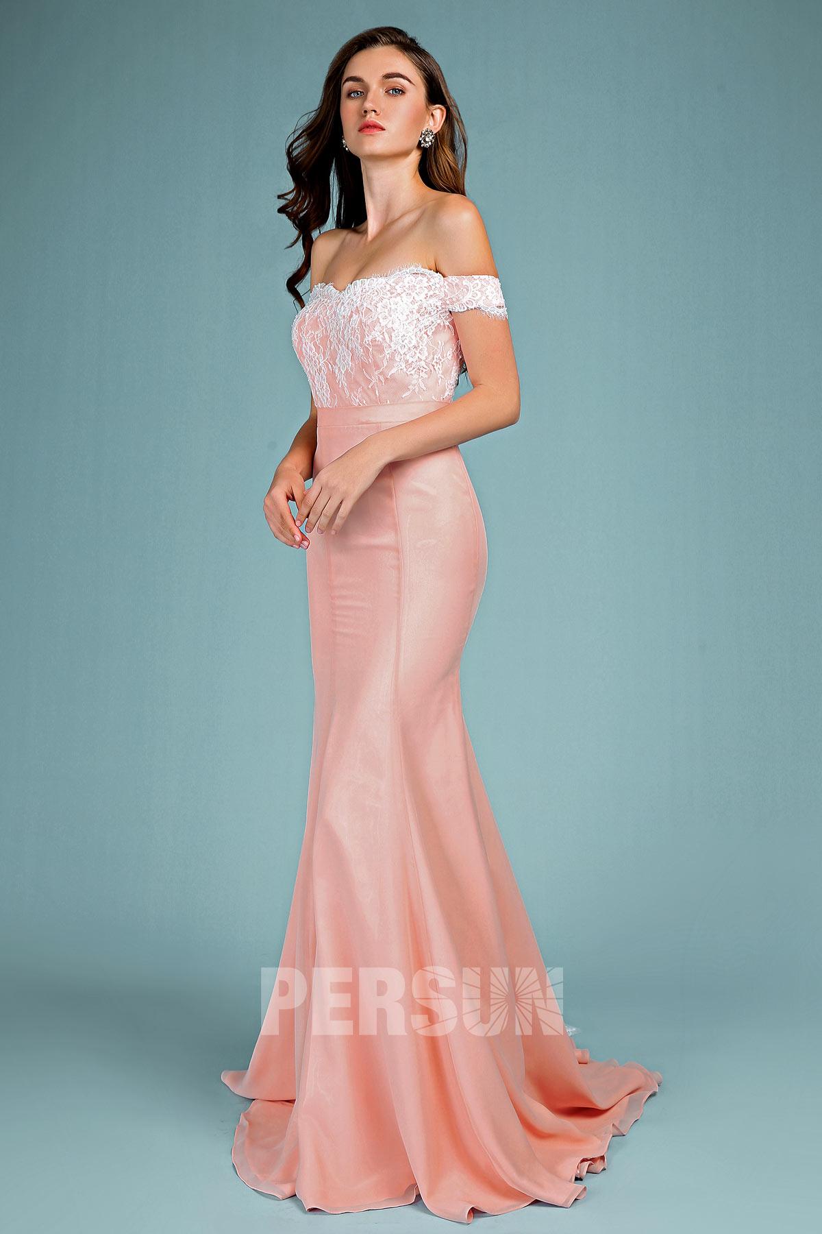 robe de soirée longue sirène épaule dénudée en dentelle appliquée