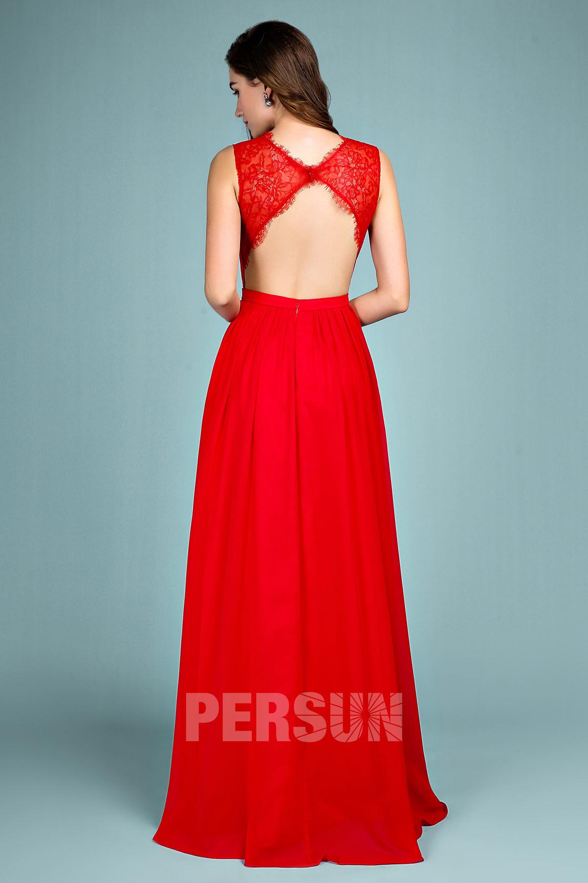 Robe élégante de soirée rouge longue jeu transparent dos découpé
