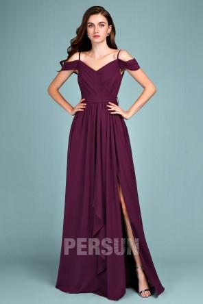 Robe demoiselle d'honneur prune longue fendue épaule nu avec bretelle fine