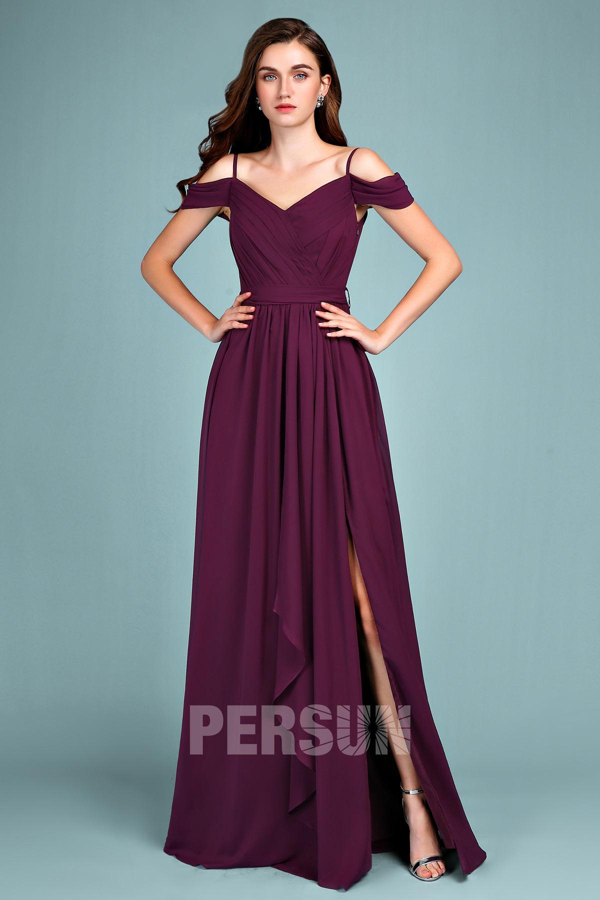 robe demoiselle d'honneur prune longue fendue épaule dégagé bustier plissé avec bretelle fine