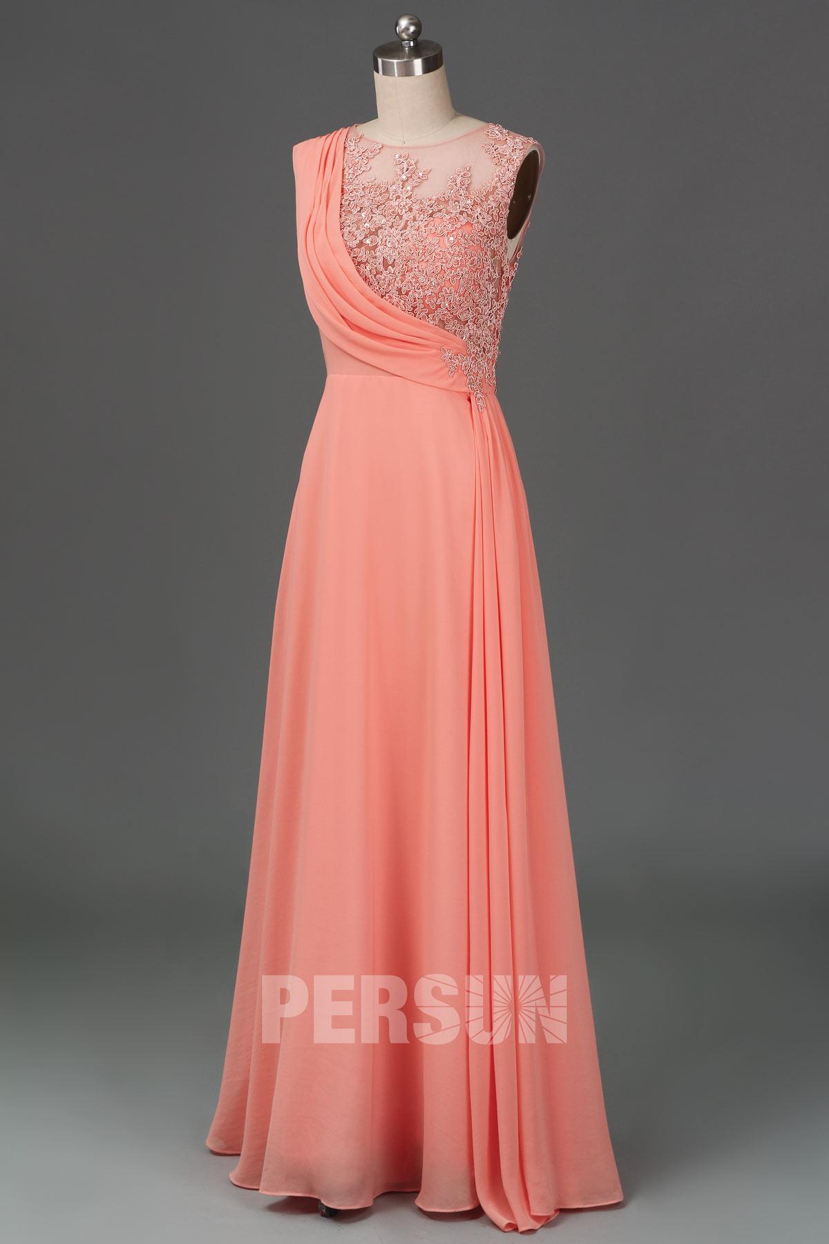 robe demoiselle d'honneur rose saumon longue appliquée dentelle