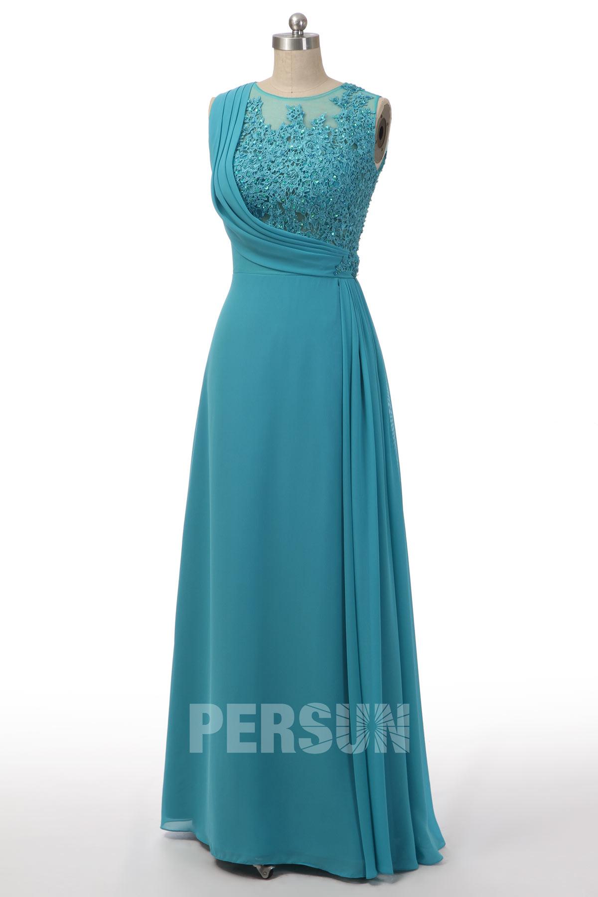 robe de soirée turquoise longue à haut appliqué de dentelle