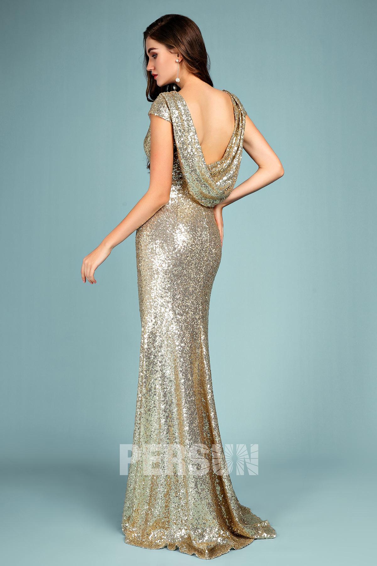 robe de gala sirène en sequin doré dos décolleté bénitier