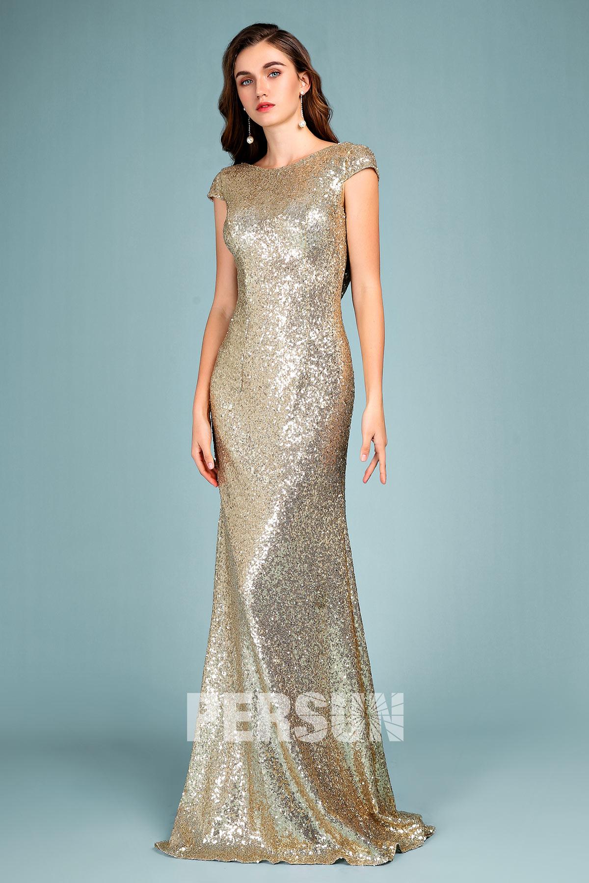 robe de soirée dorée longue col rond avec manches courtes en sequin