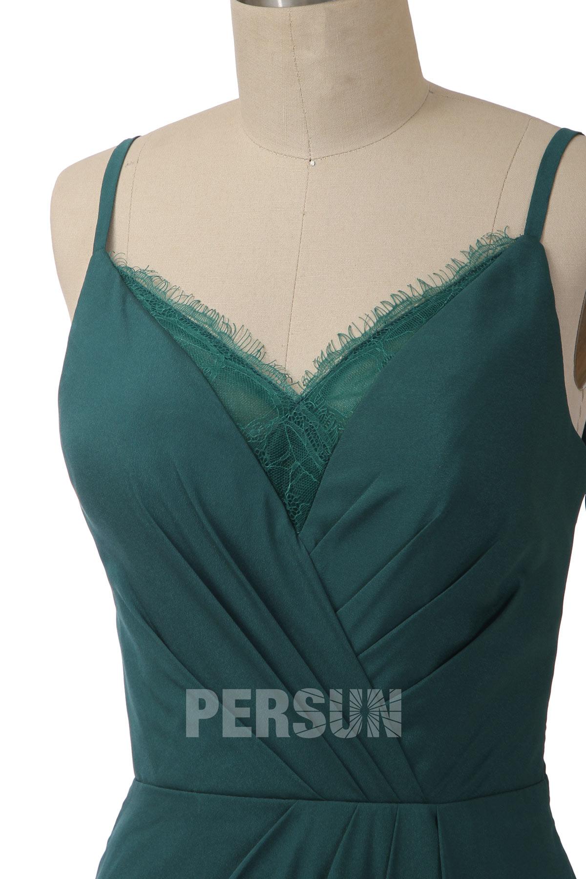 Élégante robe de soirée verte pour mariage col en V avec dentelle
