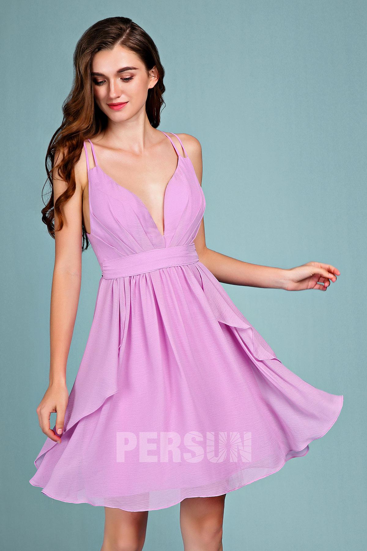 robe de cocktail courte lilas sexy plissé col v plongeant avec bretelles doubles
