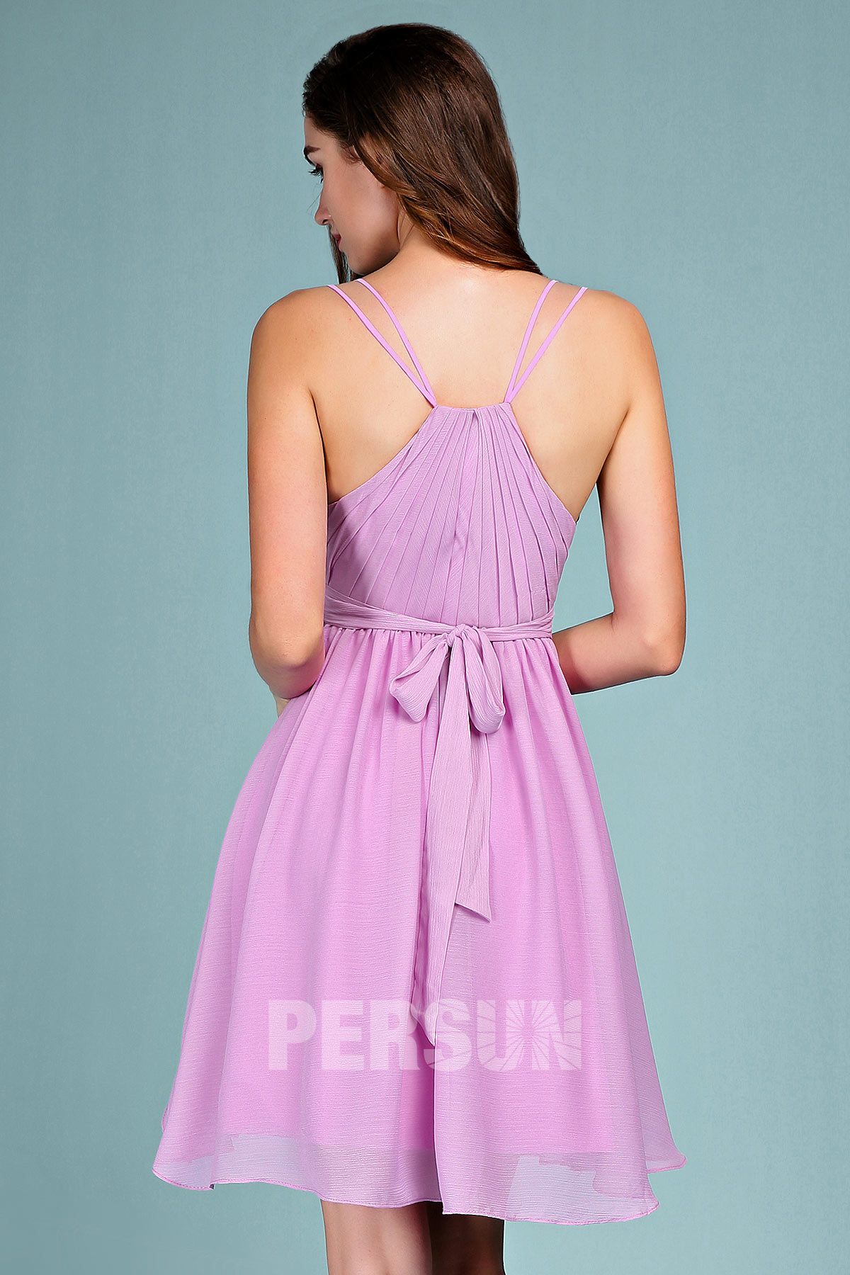 Robe de cocktail lilas sexy courte col V pour mariage