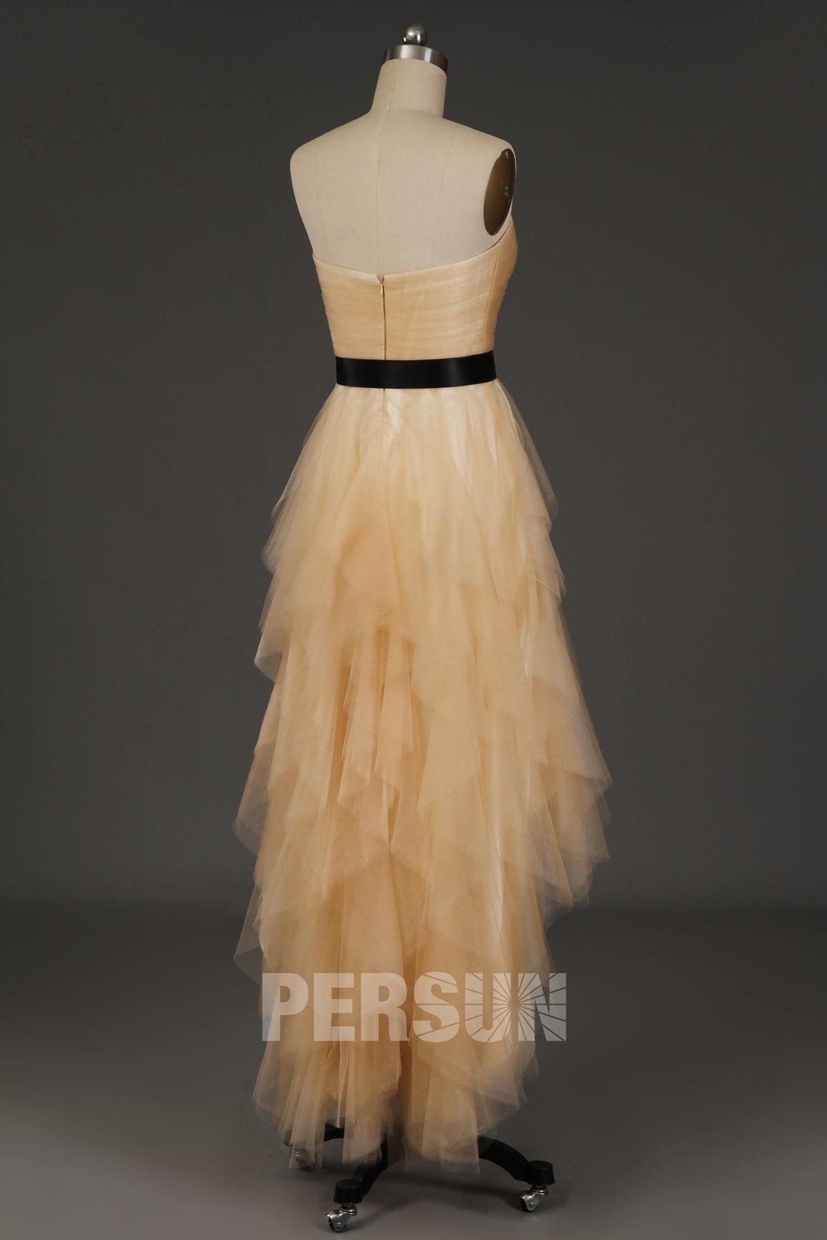 Robe de soirée champagne courte devant longue derrière jupe cascade