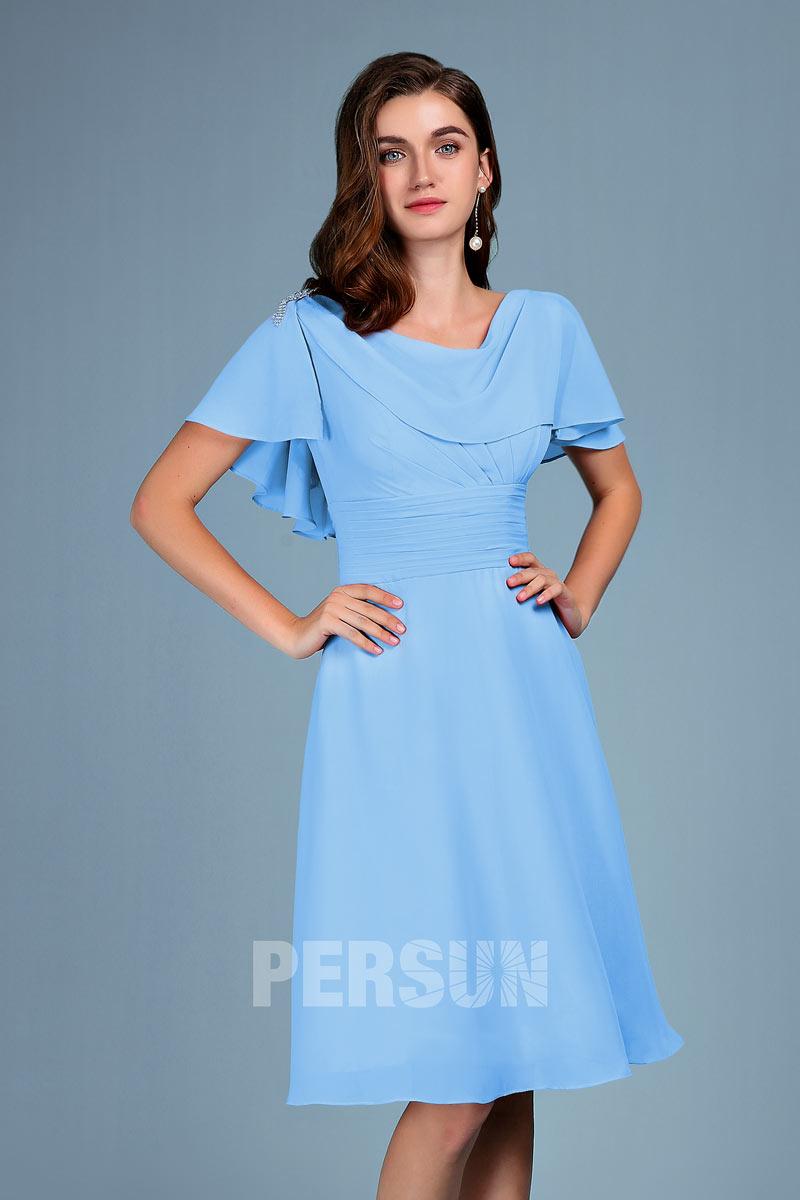 robe de soirée courte bleue avec voilage drapé
